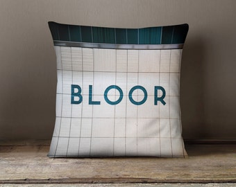 Toronto Subway Bloor Station Pillow - Made in Canada Teal Home Decor, Subway Art, Retro Home Decor - 16x16 or 20x20 Decorative Throw Pillow