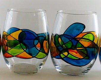 Caribbean Breeze Abstract Stemless