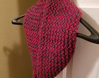 Cranberry & Charcoal Infinity Scarf
