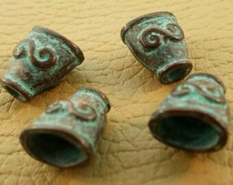 Decorative patina bead caps