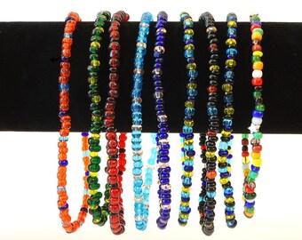 Multi-color Glass Beads Stretch Ankle Bracelet