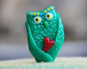 """Miniature """"In love owl"""""""