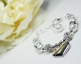 Flowergirl Gift, Flowergirl Bracelet Pearl Charm Bracelet, Girls Wedding Gift, Flowergirl Jewelry Flowergirl Bracelet Pick Your Own Color
