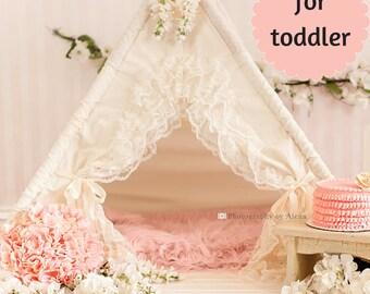 teepee, teepee with lace, teepee tent, teepee with mat, kids teepee - BABY BIANCA