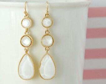 Ivory  Drop Earrings, Bridal Blush Earrings, Bridesmaid Earrings, Ivory Wedding Earrings, Prom Earrings-2038