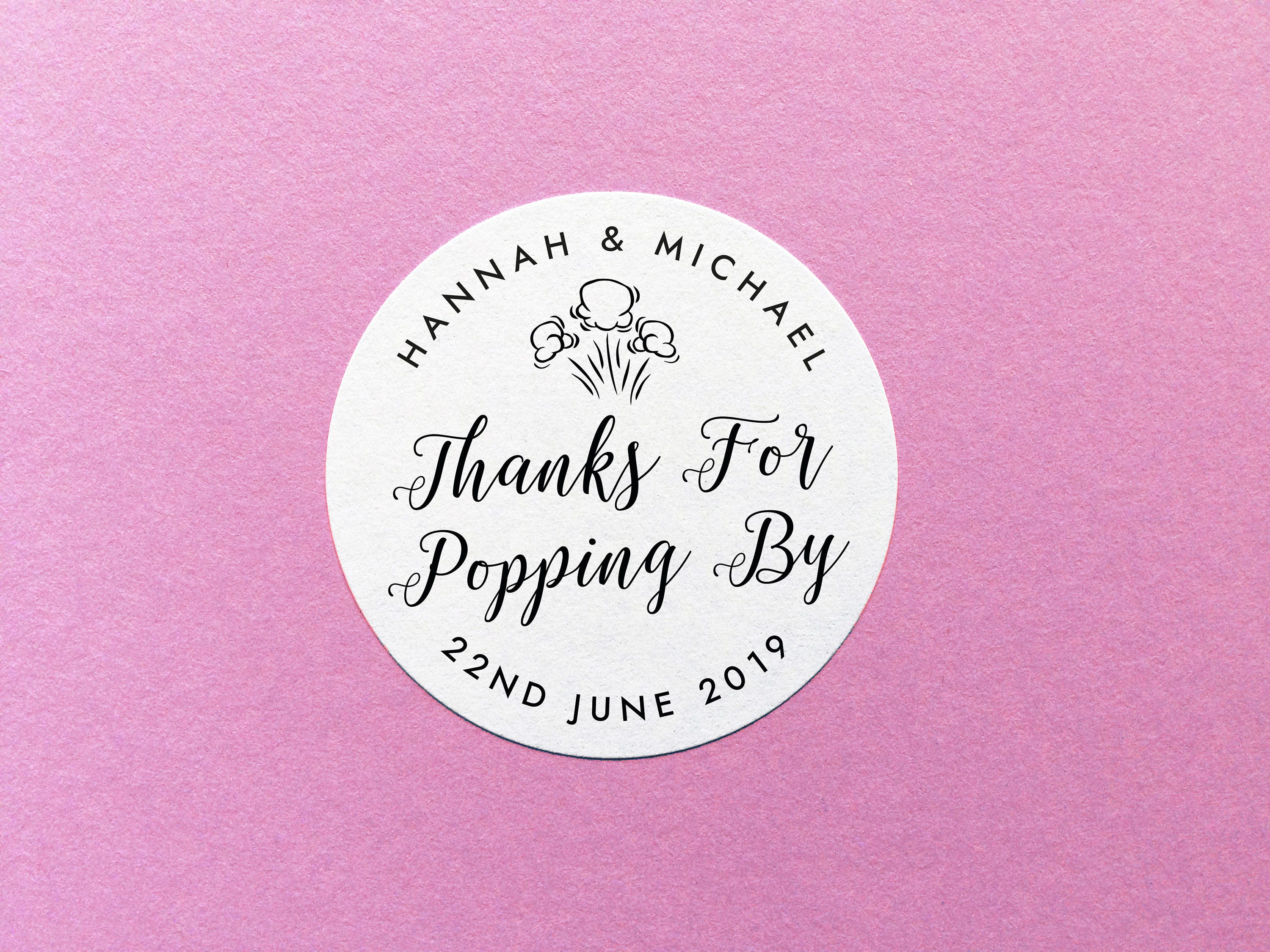 Personalized Popcorn Label, Thanks For Popping By Sticker, Party ...