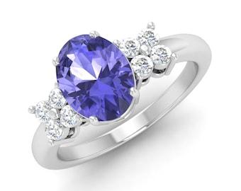 Tanzanite Ring, 14K White Gold Ring, Oval Cut Engagement Ring, Anniversary Ring, Wedding Ring, Tanzanite Engagement Ring, Diamond Ring