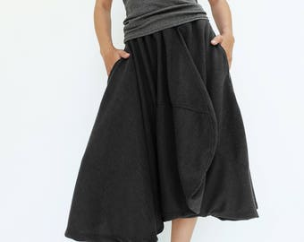 NO.221 Black Viscose Asymmetric Midi Pants/Skirt, Avant Garde Skirt