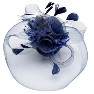 Big Navy Fascinator Hat Veil Net Hair Clip Ascot Derby Races Wedding Headband Feather Flower