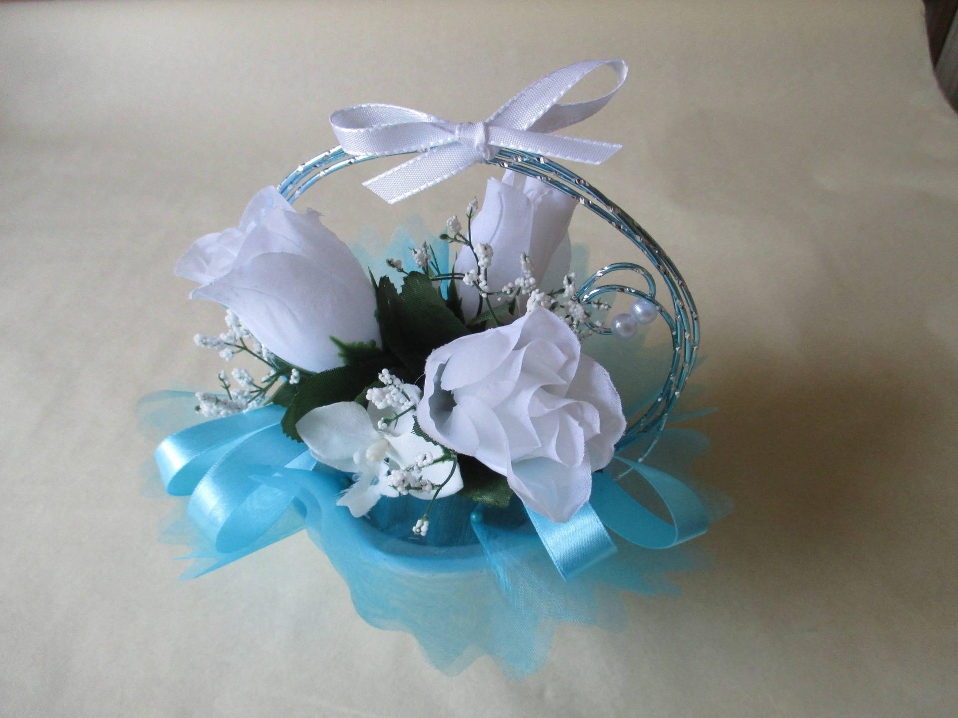 Centre de table mariage bleu turquoise et blanc - Centre de table bleu turquoise ...