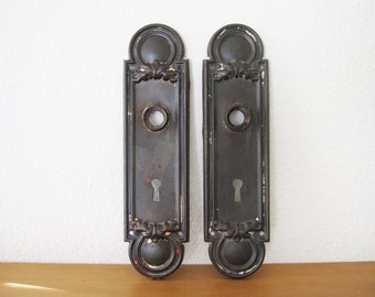 Vintage Pair Steel Iron Bronze Classical Victorian Backplates, Escutcheons,  Keyhole Cover Plates, Door