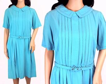 Vintage 1950s Dress Teal - Medium Blue Dress - Blue Peter Pan Collar Dress - Light Blue Dress - 50s Blue Dress Medium - Retro Belted Dress