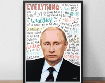 Vladimir Putin print / poster hand drawn typography quotes political print / poster