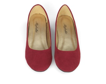 Red Velvet Hidden Wedge Ballerina Ballet Flat Shoes Secret Heel Lift UK