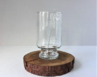 Cocktail Pitcher With Stirrer, Etched Crystal Drinks Mixer, Vintage Glass Muddler, Princess House Martini Pitcher, Vintage Mixology Barware
