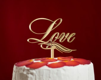 Cake topper  Wedding cake topper Love Golden cake topper
