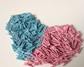 Mini Tiny Clothespin - 20pcs blue OR pink wood clothespins (Boys and Girls collection)