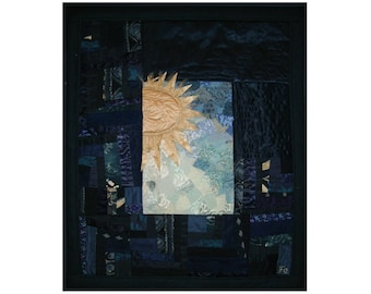 Small art quilt Golden star Quilted wall hanging Night sky quilt Mini fiber picture Morning Abstract art quilt Impressionism Textured quilt