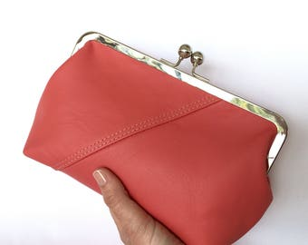 Audrey Clutch in Coral Pink Bovine Leather
