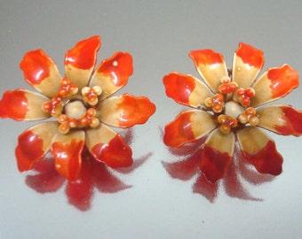 Baked Enamel Metal Orange Yellow Earrings Vintage