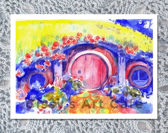 Hobbit Home Mixed Media Art Print and Postcard || Hand-painted Artwork ||  Watercolor and Colored Pencil