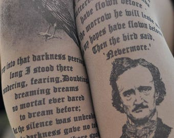Edgar Allan Poe quotes , Clothing,Text Tights,Lingerie,Women Gift,Gift for her.
