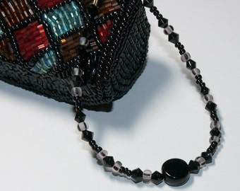 Black Round Onyx Center Bead with Swarovski Beads Handmade Beaded Bracelet with Magnetic Closure