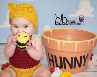 Winnie the Pooh Romper and Bonnet - Newborn to 6 month - crochet made to order