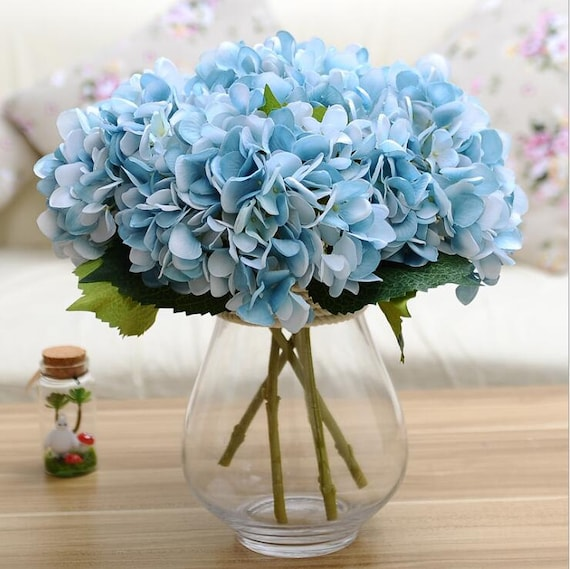 Hydrangea Bouquet Blue Hydrangeas Country Wedding Bouquet |Light Blue Hydrangea Bouquet