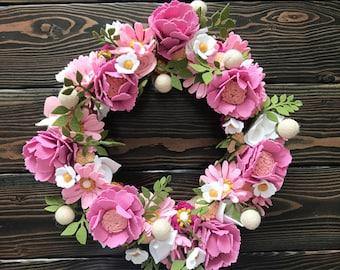 Pretty in pink felt flower wreath