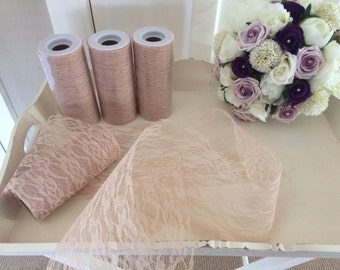 Wedding vintage style deep cream x1 lace fabric roll 10 metres perfect for pew ends, table runners bouquets and decor