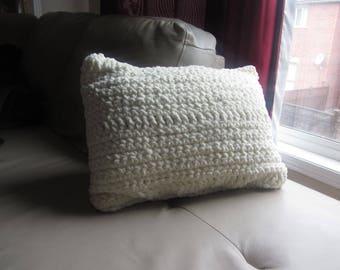 Soft Off White Decorative Pillow and Cushion Crochet Handmade