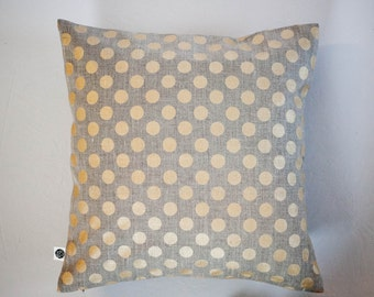 Linen gray pillow cover with gold polkadots - decorative covers - shams - throw pillows - polka dot pattern- 24x24   0089