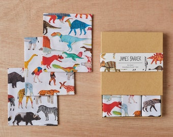Handkerchief Pocket Square Set: Dinosaurs, Safari Animals and Prehistoric Animals