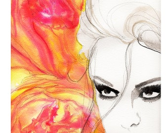 The Look of Love, print from original watercolor and mixed media fashion illustration by Jessica Durrant