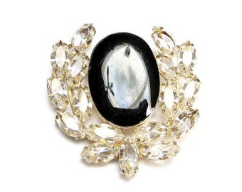 Vintage BROOCH RHINESTONE Pin JEWELED Brooch Juliana Jewelry Open Back Black Brooch Crystal Clear Horseshoe Pin Lucky Jewelry Wreath