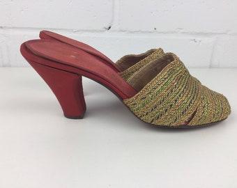 Vintage 1930s Shoes, Vintage Gold Shoes, Red Mules, Vintage Peep Toe, Gold High Heels,  3 Inch Heels, Vintage Size 4, Burlesque Shoes