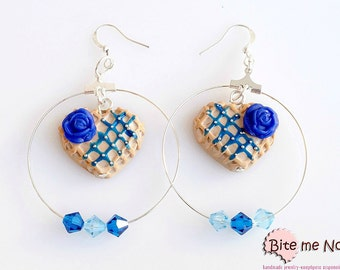 Polymer Clay Jewelry Blue Rose Waffles Hoops, Hoop earrings, Mini Food, Handmade Earrings, Polymer Clay Sweets,Miniature Food,Kawaii Jewelry