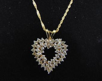 Vintage Estate 10K Gold Necklace w/ Diamond Heart Pendant 6.0g #E1063