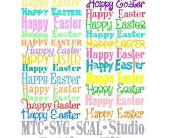 SVG Cut File Happy Easter Greeting Bundle of 25 Print Scrapbooking  MTC SCAL Silhouette Cutting File