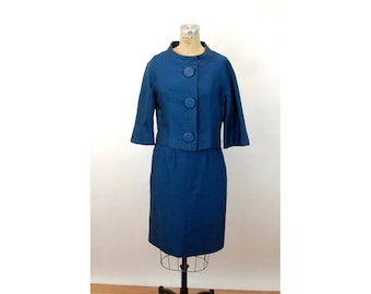 1960s suit Jack Feit designer skirt suit teal blue cropped jacket Size M