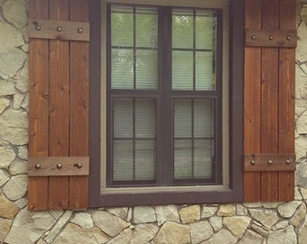 Stained Cedar Shutters, Exterior Shutters, Board And Batten Shutters,  Rustic Shutters, Wooden