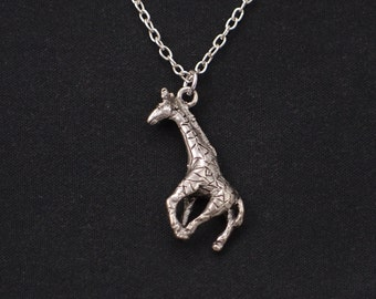 giraffe necklace, sterling silver filled, silver giraffe charm, giraffe charm, children necklace, kids necklace, giraffe pendant, girls gift