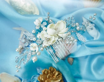 Delicate Floral Bridal Comb Ivory Wedding Headpiece Flower Hair Comb Flower Accessories Bridal Floral Hairpiece Silver Beaded Accessories
