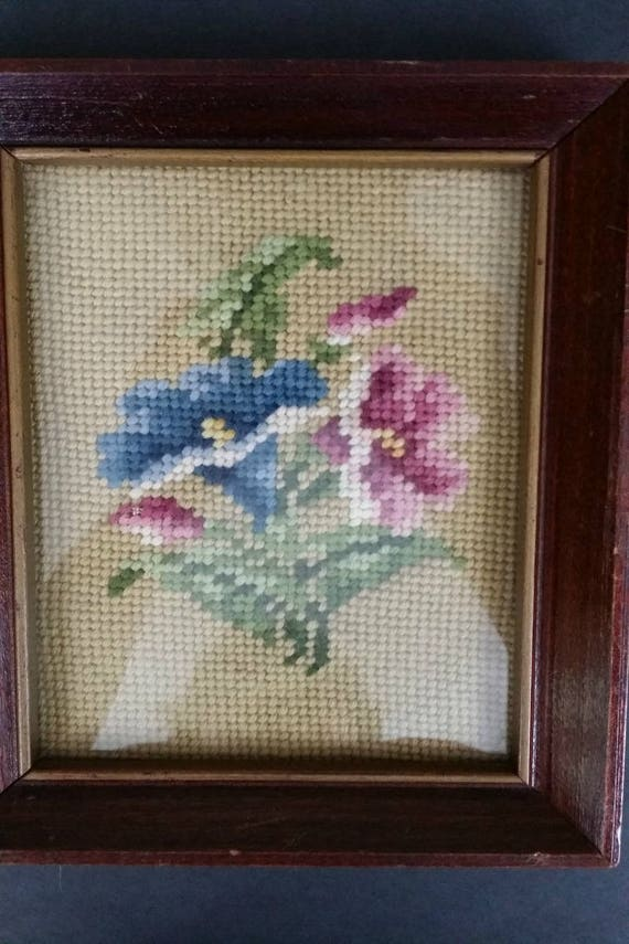 Needlepoint Frame Pictures Flowers Shower Gift Flowers in