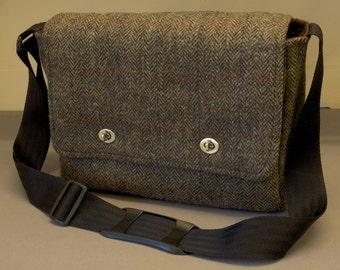 Harris Tweed Messenger Bag with shoulder strap - fabric satchel for iPad, Camera, Kindle, Macbook