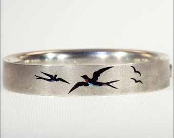 Antique Austro-Hungarian Silver Bangle Bracelet with Enameled Bluebirds