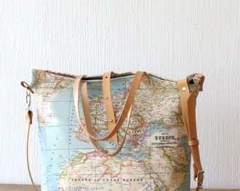 Handmade bags for your everyday life by merybradley on etsy canvas tote bag world map tote bag travel bag crossbody bag canvas purse world map bag tote bag with pockets gumiabroncs Image collections