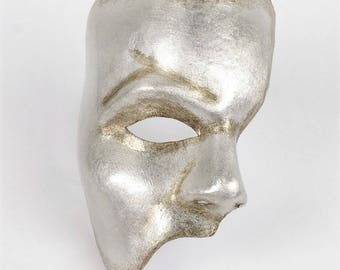 Venetian Phantom of the Opera Mask Silver Leaf