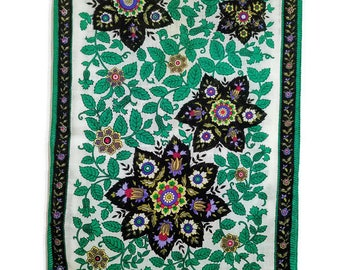 Green Black Long Scarf Ivy and Floral On White